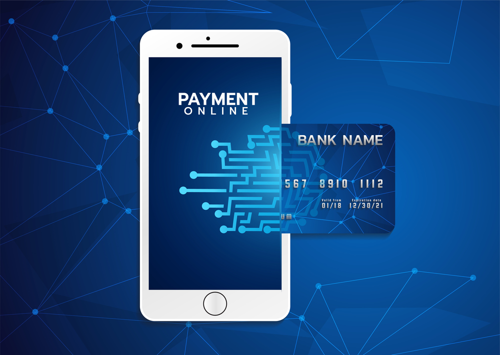 Mobile Phone Showing Online Payment and Credit Card