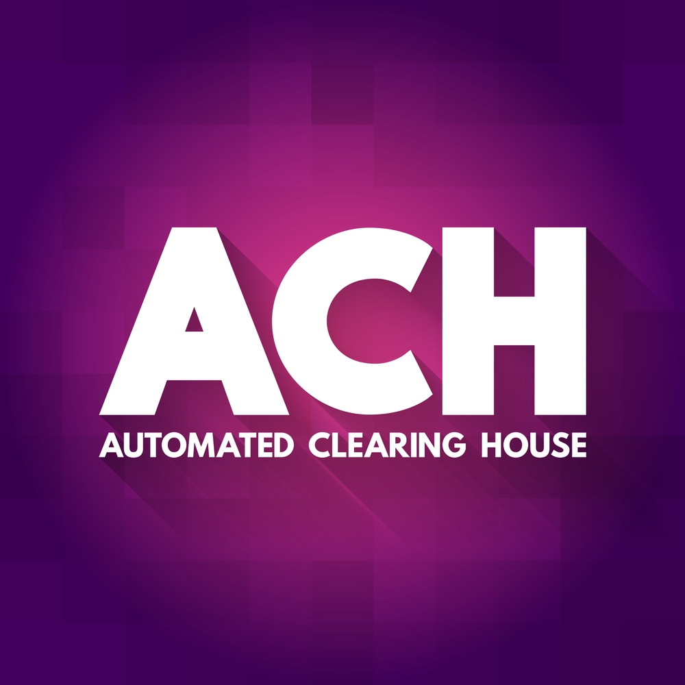 Automated Clearing House on maroon background